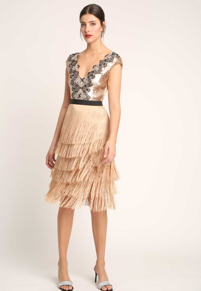 ALBA CONDE ARROWS Y SEQUINS DRESS