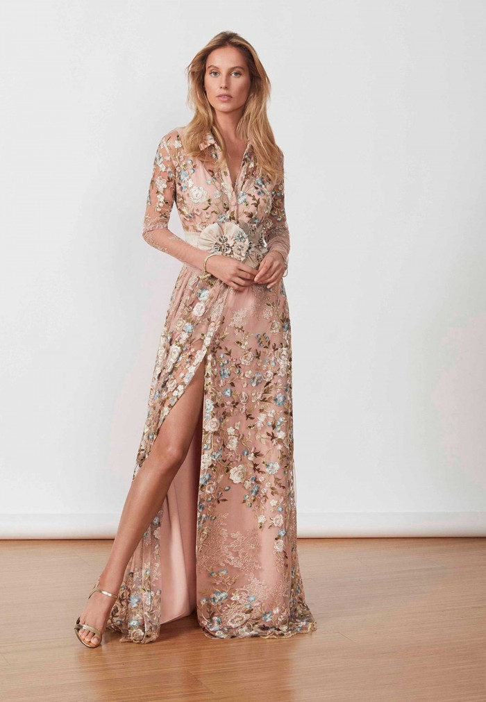 MATILDE CANO TULLELELELELE EMBROIDERY DRESS